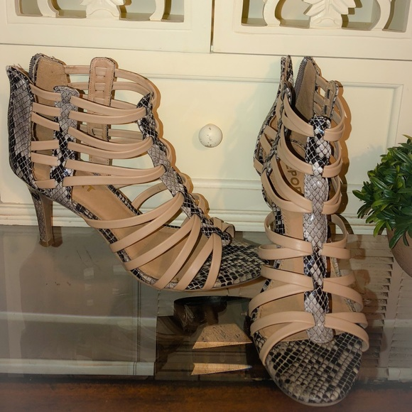 Report Shoes - Report strappy, sexy nude & faux snake skin heels